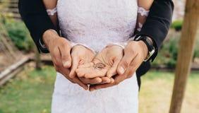 Anneaux de mariage dans des mains de marié et de jeune mariée Photo stock