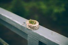 Anneaux de mariage dans une boîte en bois Photos stock