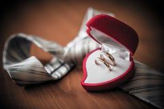 Anneaux de mariage de port de marié dans la boîte d'anneau Photos libres de droits