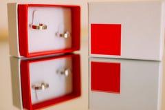 Anneaux de mariage des nouveaux mariés dans une boîte Anneaux d'or d'engagement Images libres de droits