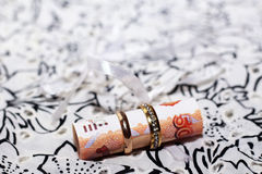 Anneaux de mariage et argent russe, amour et heureux Photo libre de droits
