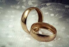 Anneaux de mariage et voile de la jeune mariée images libres de droits