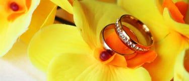 Anneaux de mariage, heureux et amour Photos stock