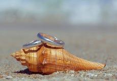 Anneaux de mariage mis sur la plage Image libre de droits