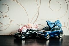 Anneaux de mariage, papillon du marié et la jarretière de la jeune mariée sur des voitures de jouet photos libres de droits
