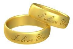 Anneaux de mariage, rendu 3D Image stock
