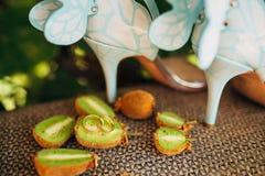Anneaux de mariage sur la coupe du kiwi Photo libre de droits
