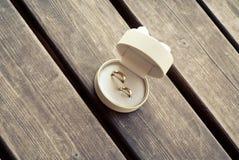 Anneaux de mariage sur le plancher en bois Images stock