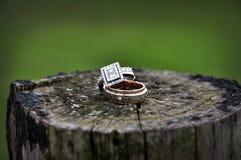 Anneaux de mariage sur le poteau en bois de barrière Images libres de droits