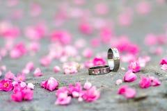 Anneaux de noces d'argent et fleurs roses sur le fond en pierre Photographie stock libre de droits