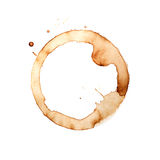 Anneaux de tasse de café sur un fond blanc Images libres de droits