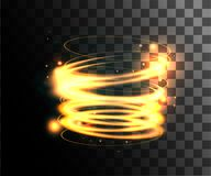 Anneaux légers rougeoyants d'or d'effets de la lumière avec la décoration de particules d'isolement à la page transparente de sit illustration stock