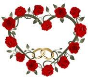 Anneaux les épousant entrelacés d'or au coeur de roses rouges illustration de vecteur
