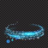 Anneaux rougeoyants bleu-clair avec des scintillements et des flocons de neige Photographie stock libre de droits