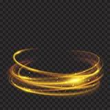 Anneaux rougeoyants d'or du feu avec des scintillements Image stock