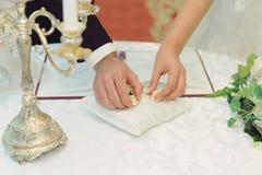 Anneaux sur l'oreiller de mariage Photo libre de droits