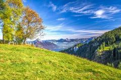 Annebbi Rigi circondante, più lordo e Kleiner Mythen, il lago Lucerna in Svizzera centrale Immagini Stock