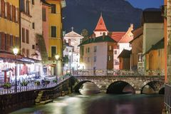 Annecy, αποκαλούμενο Βενετία των Άλπεων, Γαλλία Στοκ φωτογραφίες με δικαίωμα ελεύθερης χρήσης
