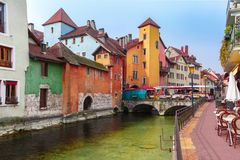 Annecy, αποκαλούμενο Βενετία των Άλπεων, Γαλλία Στοκ εικόνα με δικαίωμα ελεύθερης χρήσης