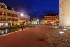 Annecy Παλαιά πόλη στο ηλιοβασίλεμα στοκ εικόνες