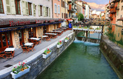 ANNECY, APRIL 18, 2017 - Architecture of Annecy , called the  Venice of the Alps France, Europe Royalty Free Stock Photography