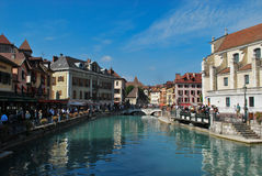 Annecy. Bas been called the Alpine Venetia since a long time, with its canals crossing the historic town Royalty Free Stock Photography