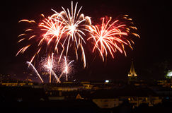 Annecy Bastille Day Fireworks Old City. Bright fireworks light up the night sky for Bastille day, a major holiday in Annecy, France Royalty Free Stock Image