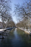 Annecy boulevard in winter. Winter view of Annecy in France, a mediaeval town with some modern features Royalty Free Stock Photography