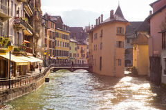 Annecy - Canal City in Eastern France. The Lac du Annecy flows out through a series of canals, which were built up with homes of Swiss nobles in the 13th Century Royalty Free Stock Photography