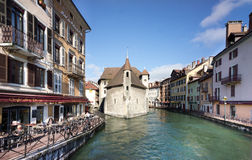 Annecy - Canal City in Eastern France. The Lac du Annecy flows out through a series of canals, which were built up with homes of Swiss nobles in the 13th Century Stock Image