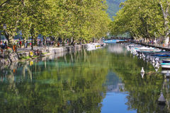 Annecy canals and boats Stock Images