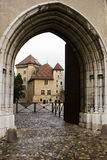 Annecy Castle. Arc entrance to the Annecy Castle (Chateau  d'Annecy) at town of Annecy in the Haute-Savoie department of  France Royalty Free Stock Images