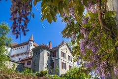 Annecy, France,Picturesque Alpine town in southeastern France, aka the`Pearl of French Alps`  or  `Venice of the Alps. Annecy Castle Château d`Annecy, a royalty free stock images