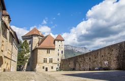 Annecy, France,Picturesque Alpine town in southeastern France, aka the`Pearl of French Alps`  or  `Venice of the Alps. Annecy Castle Château d`Annecy, a royalty free stock photography