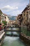 Annecy channel. A horizontal view on a channel in nice old town annecy, france, eu Royalty Free Stock Images
