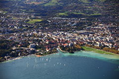 Annecy city from fly bird royalty free stock photography