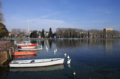 Annecy city and marina, France Stock Images