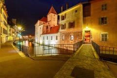 Annecy city night old Στοκ Εικόνα