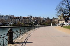Annecy city, Thiou canal, Savoy, France. Walk path Royalty Free Stock Photography