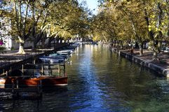 Annecy city, Thiou canal, Savoy, France. Annecy city, Thiou canal and boats, Savoy, France Stock Image