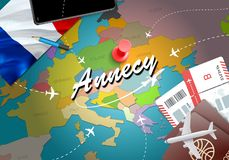 Annecy city travel and tourism destination concept. France flag. And Annecy city on map. France travel concept map background. Tickets Planes and flights to stock illustration