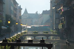 Annecy at Dawn. On the morning market Stock Images