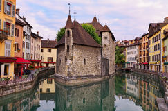 Annecy at early morning. The Palais de l'Isle and old houses at early morning, Annecy, France Stock Photos
