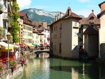 Annecy ( France ). View of a canal in the city of Annecy, Haute Savoie (France Royalty Free Stock Photo