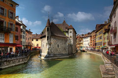 Annecy, France. The Palace of the Isle (Palais d'Isle) is the most recognized building in Annecy, France. Constructed to resemble a ship on the Thiou cannal Stock Image