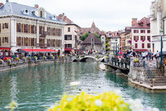 ANNECY, FRANCE, 23 AUGUST 2015 - Palais de l'isle, beautiful tow Stock Photography