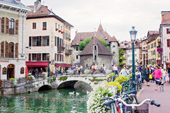 ANNECY, FRANCE, 23 AUGUST 2015 - Palais de l'isle, beautiful tow Royalty Free Stock Photo