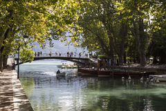 Annecy, France. The Bridge of Love, located at the edge of Lake Annecy at the mouth of the Vasse canal Stock Photos