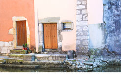 Annecy France. Canal doors old houses Stock Image