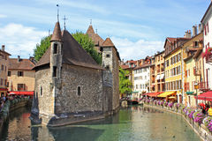 Annecy, France. Canal in Annecy town, France Stock Photos